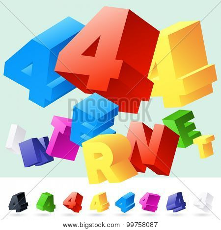 Vector 3D font of randomly rotated colourful letters. All letters in alphabet have 8 random points of view. Number 4