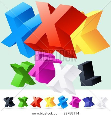 Vector 3D font of randomly rotated colourful letters. All letters in alphabet have 8 random points of view. Letter X