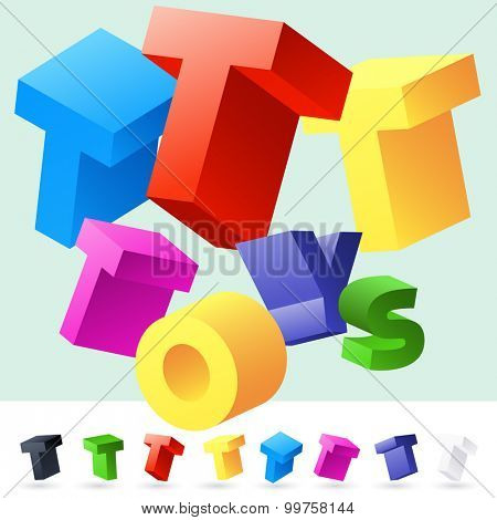 Vector 3D font of randomly rotated colourful letters. All letters in alphabet have 8 random points of view. Letter T