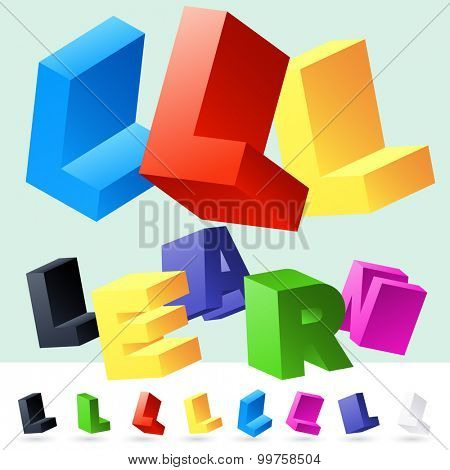 Vector 3D font of randomly rotated colourful letters. All letters in alphabet have 8 random points of view. Letter L