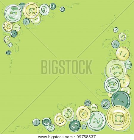 frame of hand drawn sewed buttons. vector background