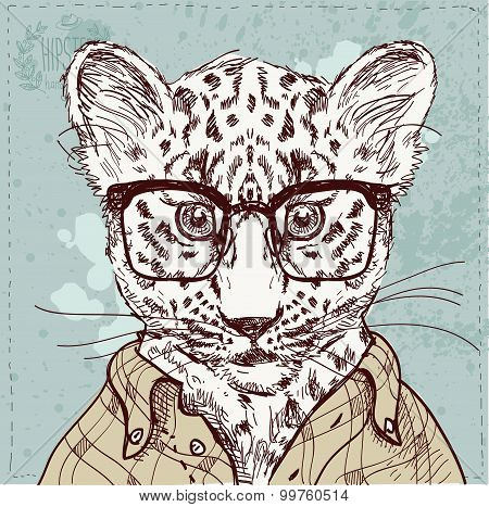 Vector hipster leopard with glasses and suit in vector