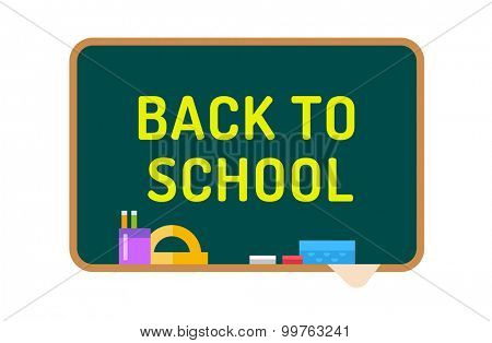 Back to school background.  Cute vector cartoon class room board. School objects, school uniform, university, board and chalk, preschool and education, small kids, teens, kids tools. Welcome to school