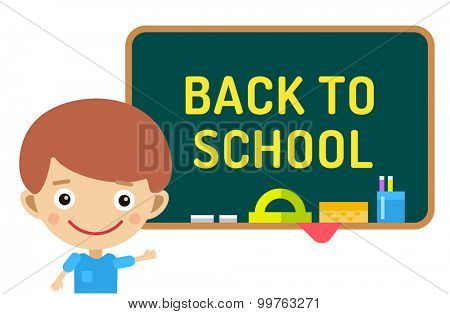 Back to school background.  Cute vector cartoon boy staying near class room board. School uniform, university, board and chalk, preschool and education, small kids, teens, smile face, people