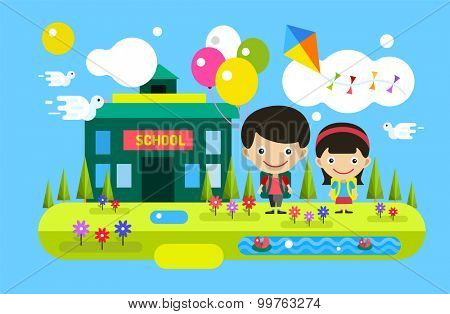 Back to school background. Cute vector cartoon boy and girl playing near school building. School uniform, university building, preschool and education, small kids, teens,  smile face, people
