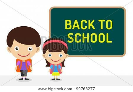 Back to school background.  Cute vector cartoon boy and girl staying near class room board. School uniform, university, board and chalk, preschool and education, small kids, teens, smile face, people