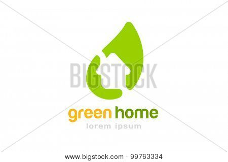 Gren house home vector logo. House logo. Nature logo. Home or house roof, mortgage and banking, loan, broke and growth. Realty logo, mortgage. Real estate. Lawyer office. Development logo. Bank