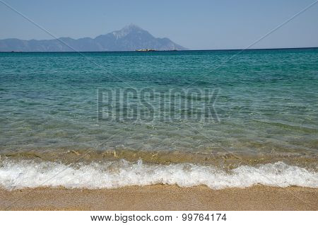 Aegean Sea And Mountain Athos