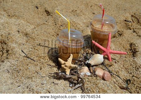 Cold Coffee Frappes On Beach