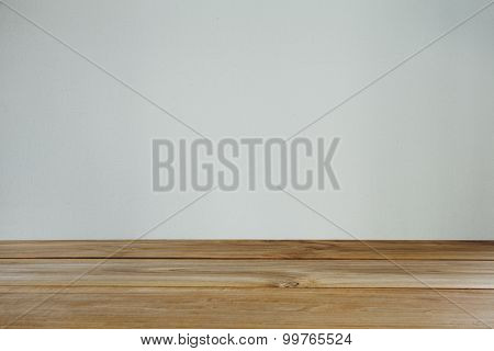 Empty Space With Wall And Wooden Floor. Vintage Tone