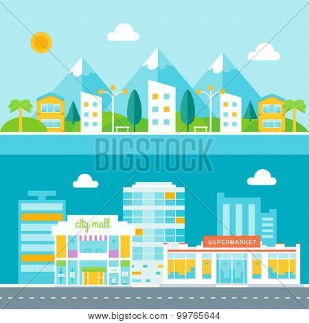 Resort Town and Business City Illustrations. Cityscapes in Flat Design