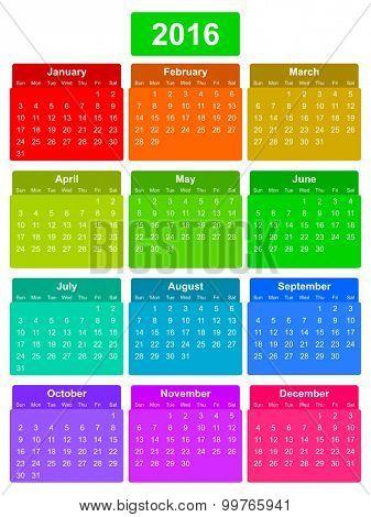 simple editable vector calendar 2016 on colorful background sunday first