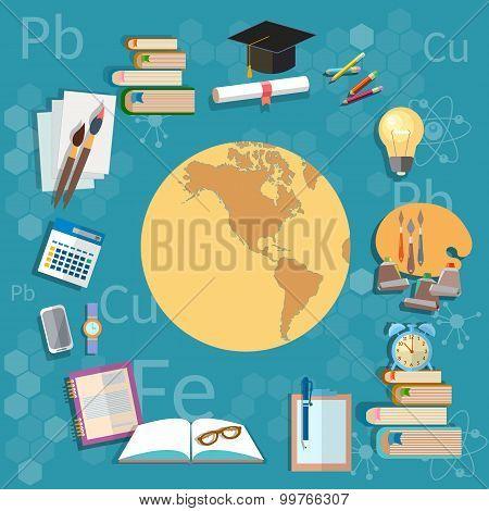Education Object International Training Globe Map Back To School Background
