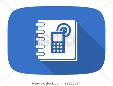 phonebook flat design modern icon with long shadow for web and mobile app