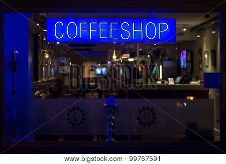 Coffeeshop Neon Signboard At Night. Eindhoven, Netherlands