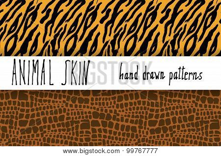 Animal Skin Hand Drawn Texture, Vector Seamless Pattern Set, Sketch Drawing Clocodile And Tiger Skin
