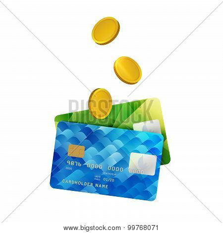 Plastic Bank Cards with Gold Coins