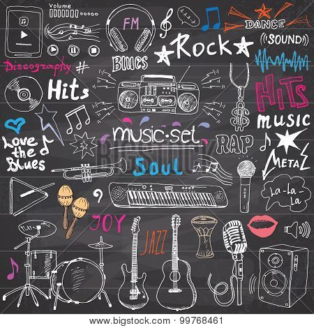 Music Items Doodle Icons Set. Hand Drawn Sketch With Notes, Instruments, Microphone, Guitar, Headpho