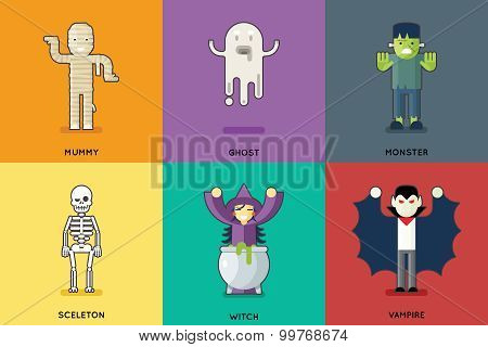 Halloween Party Roles Characters Icons Set Stylish Background Flat Design Greeting Card Template Vec