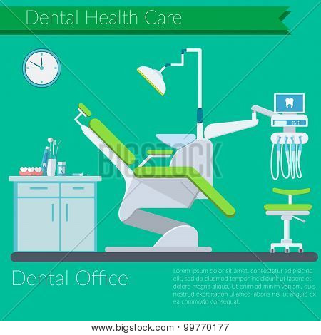 Dentist Office Flat Design Vector Illustration With Dental Care Items, Teeth, Tooth Paste, Brush, De