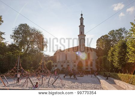 Mosque With A Playground In Brussels, Belgium
