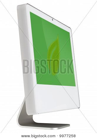 Vector Green Leaf With Green Background on a Modern Computer Screen - Isolated on White with Bonus P