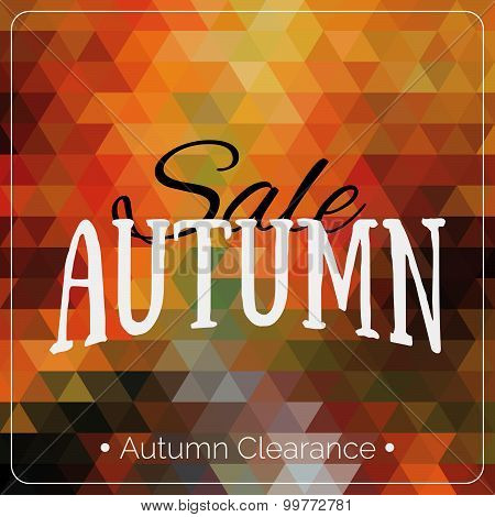 Colorful Geometric Background Card With Autumn Sale Logo. Vintage Autumn Geometric Clearance Banner.