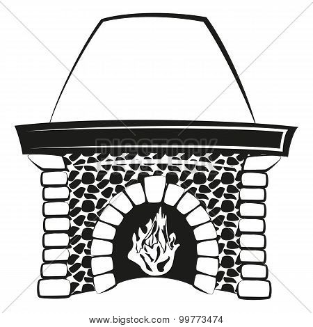 Fireplace with fire silhouette
