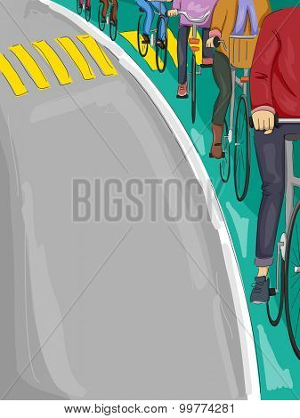 Illustration of Cyclists Following a Bike Lane