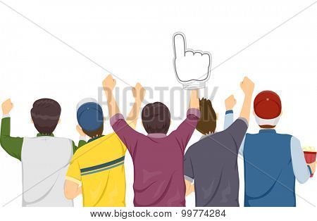 Rear View Illustration of Sports Fan Cheering on Their Favorite Team