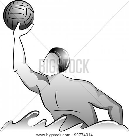 Grayscale Illustration of a Water Polo Player Catching the Ball