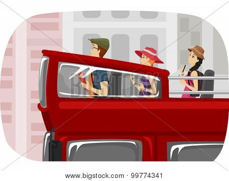 Illustration of a Group of Teenage Tourists Touring the City in a Double Decker Bus