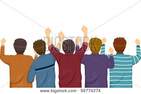 Rear View Illustration of Men Cheering Wildly