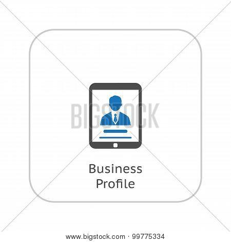 Business Profile Icon. Concept. Flat Design.