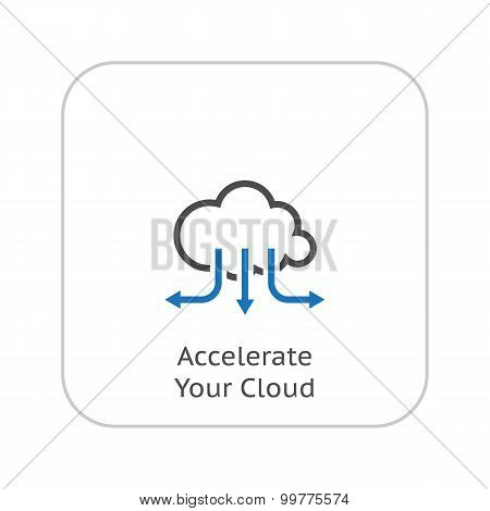 Accelerate Your Cloud Icon. Business Concept. Flat Design.