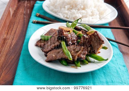 Spicy Thai Beef And Green Bean With White Rice