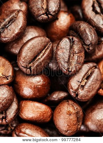 Coffee Background. Brown Coffee Beans, Close Up Of Coffee Beans For Background And Texture Macro