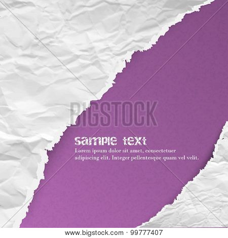 Ragged torn paper on purple background, vector illustration for your creative design