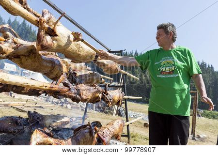 Baking Lamb Outdoors In Bulgaria Cook