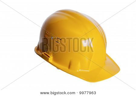 Yellow Helmet Of The Builder On A White Background