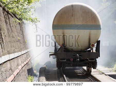 Tanker Train In Fire Railway