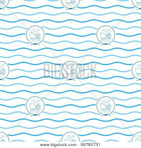 Blue Cargo Ship, Seamless Pattern