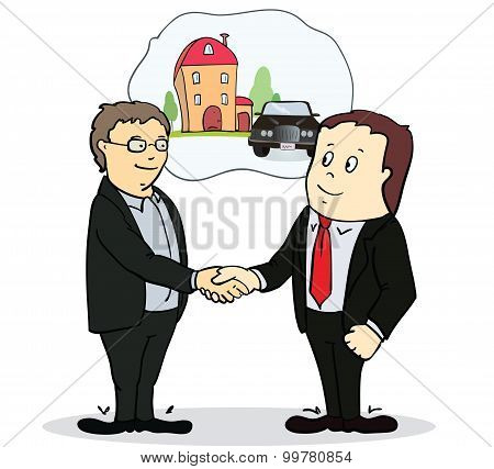 Full length portrait of two businessman shaking hands in making a deal or an agreement