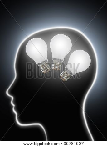 Human Brain Power Creativity Light Bulbs