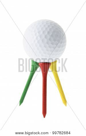 Golf Ball On Golf Tees