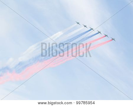 Su-25 Russian Flag Painted Over Moscow