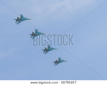 Su-34 In The Sky Over Moscow