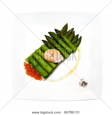 Asparagus With Red Caviar And Egg