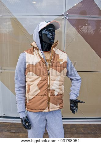 Camouflage vest on a mannequin