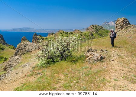 Lonely hiker photographs on a Kara-dag natural reserve